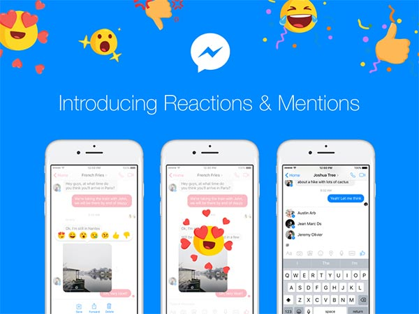 Facebook Messenger introduces reactions and mentions