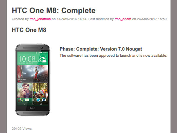 HTC One (M8) to get Android 7.0 Nougat update at T-Mobile