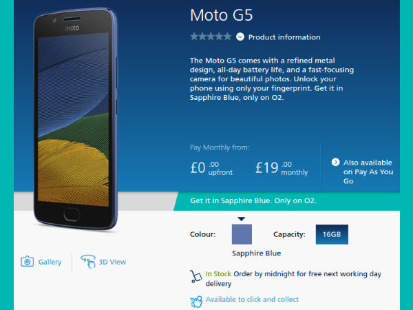 Moto G5 Sapphire blue color goes on sale in UK