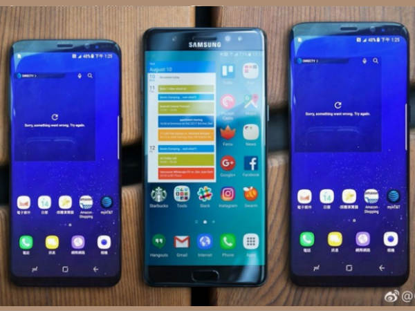 Samsung Galaxy S8, S8 Plus shown along with Note 7, S7 edge