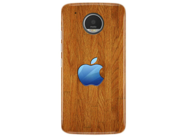 Moto G5 Plus Cover and Case (Wood Color with Apple Logo)