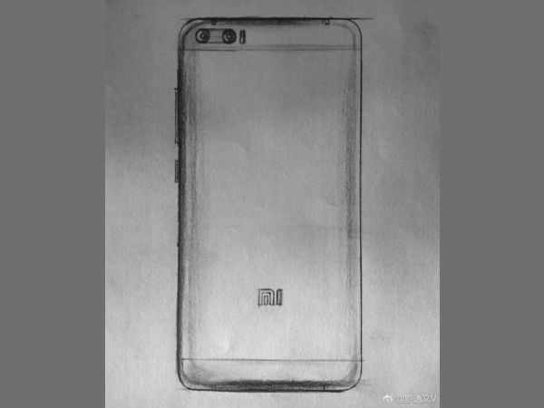 Xiaomi Mi 6 sketches show the dual camera setup at its rear