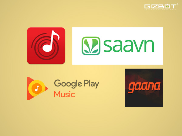 Comparison between Saavn, Gaana, Wynk, Jio Music and Google Music