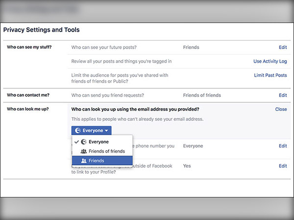 How to prevent others from finding your Facebook account easily