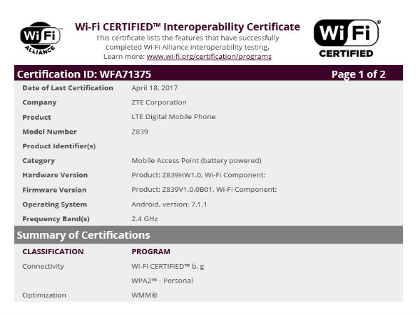 Mysterious ZTE Z839 receives WiFi certification