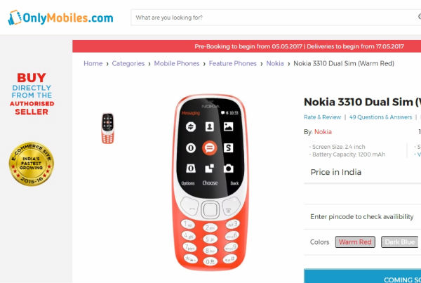 Nokia 3310 listed online at Rs 3,899 in India: Threat to smartphones under Rs 5,000