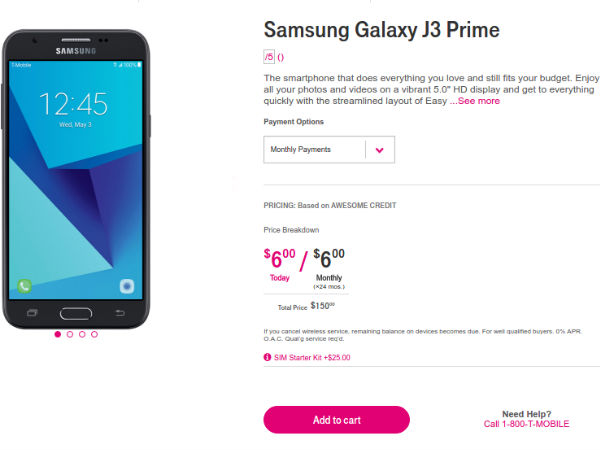 Samsung Galaxy J3 Prime is now available at T-Mobile