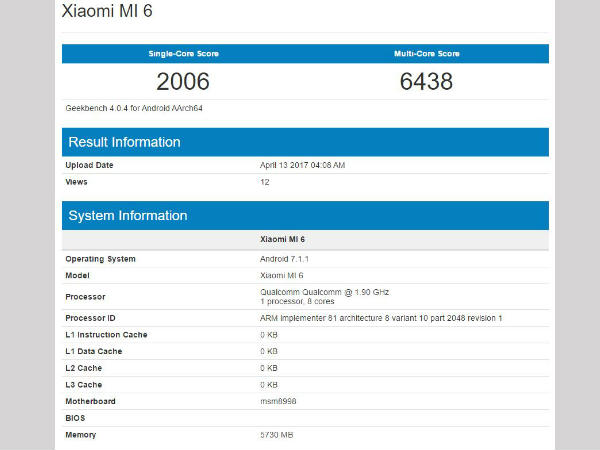 Xiaomi Mi 6 Geekbench scores leaked: Higher than Google Pixel!