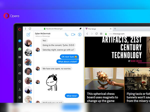 Access Facebook messenger in sidebar
