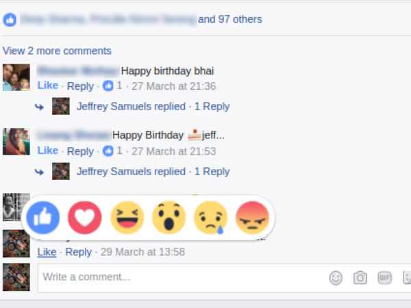 Facebook adds Reactions feature to comments as well