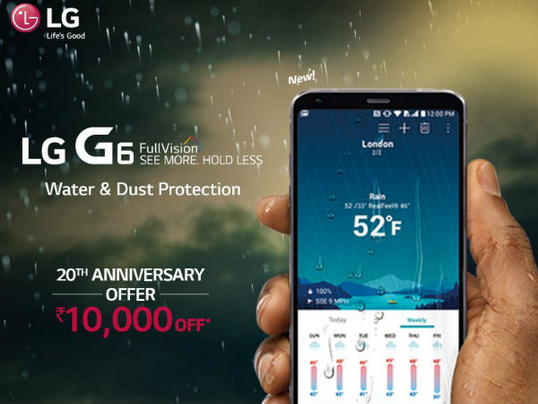 LG G6 gets Rs.10,000 off as the company marks its 20th anniversary