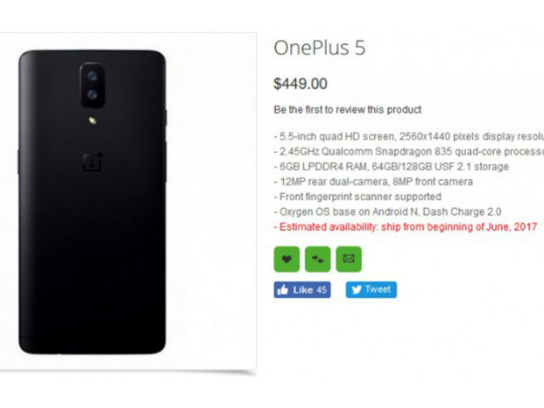 OnePlus 5 India price leaked