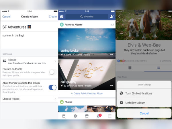 Facebook now lets you add videos, check-ins, and text posts to Albums