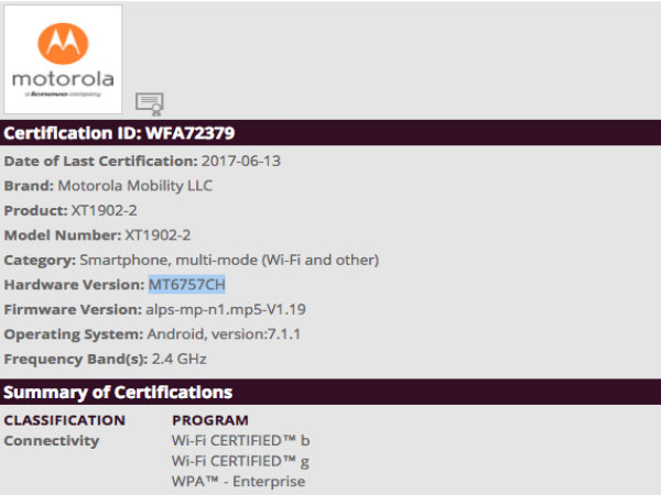 Motorola smartphone XT1902-2 gets certified by Wi-Fi Alliance