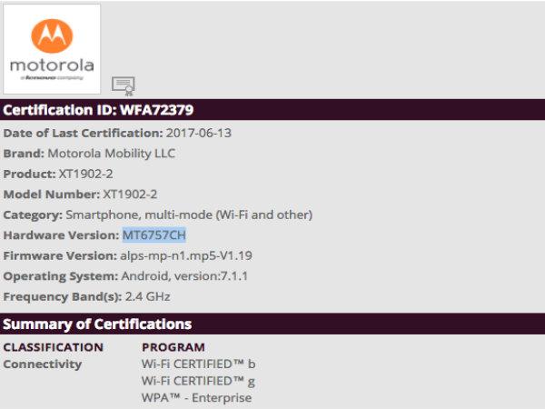 Motorola smartphone XT1902-2 gets certified by Wi-Fi Alliance