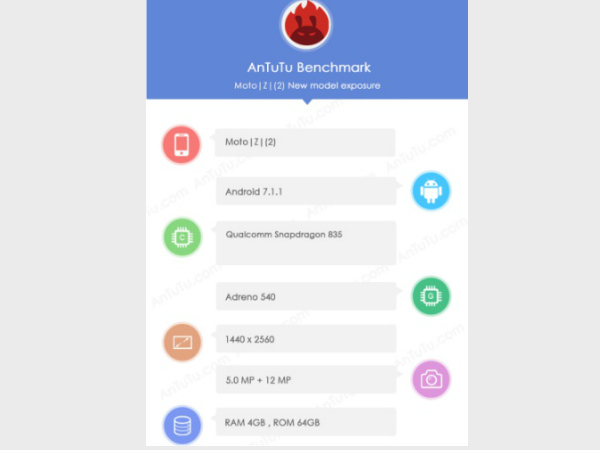 Moto Z2 spotted on AnTuTu : Snapdragon 835 Soc and Android 7.1.1