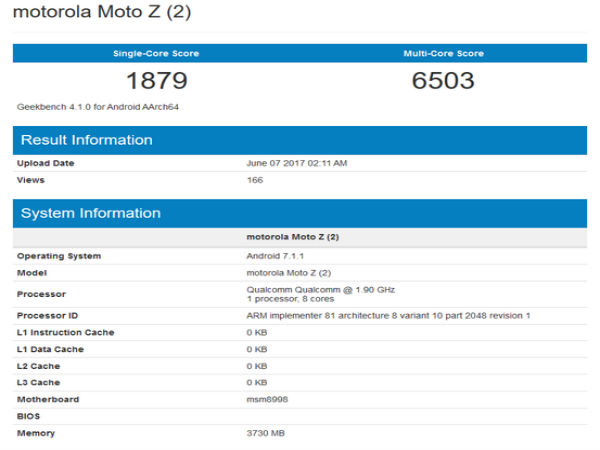 Moto Z2 with Snapdragon 835, 4GB RAM visits Geekbench
