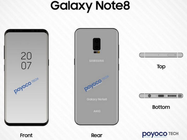 Samsung Galaxy Note 8 to have vertically arranged rear dual cameras