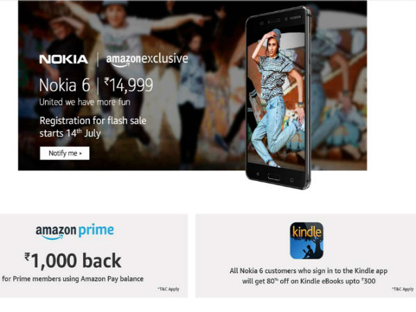 Nokia 6 to be priced at Rs. 14,999, tips leaked Amazon listing