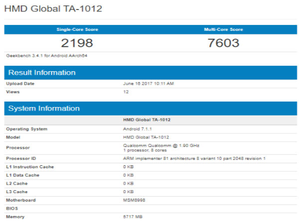 Nokia 9 variant with 6GB RAM spotted on Geekbench once again