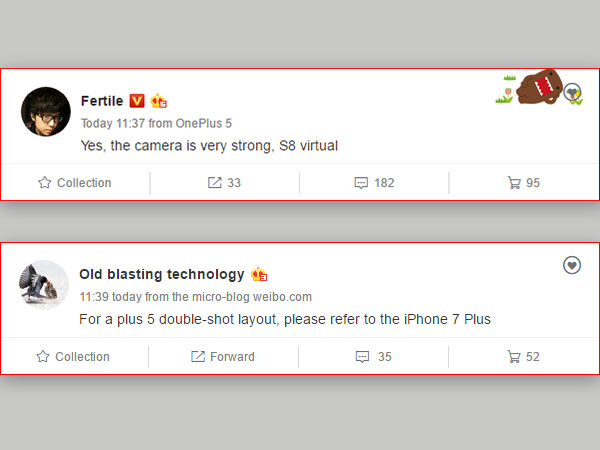 OnePlus 5 camera to have similar configuration of iPhone 7 Plus
