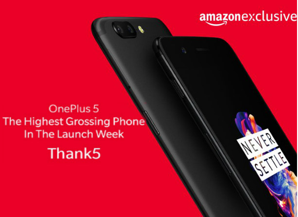 OnePlus 5 creates sales record on Amazon India in the launch week