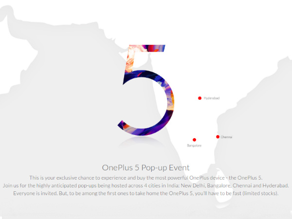 OnePlus 5 Pop-up event in India: Location, Date, and Time