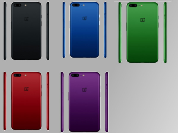 OnePlus 5 renders in Black, Red, Blue, Green and Purple colors emerge