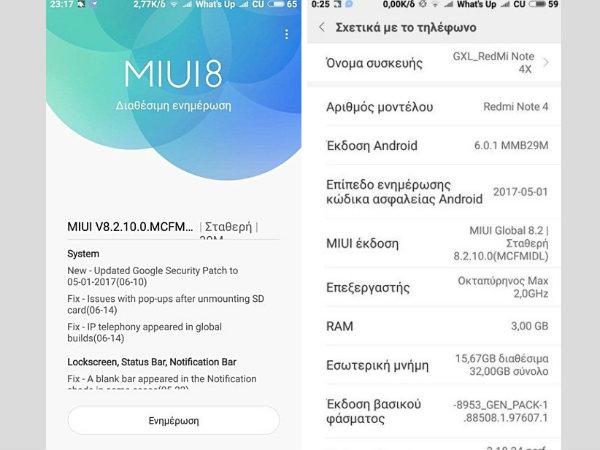 Xiaomi Redmi Note 4X starts receiving MIUI 8.2.10.0 update
