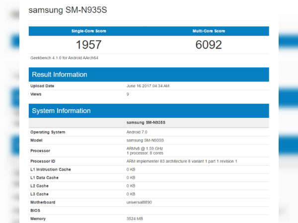 Samsung Galaxy Note 7R visits Geekbench again