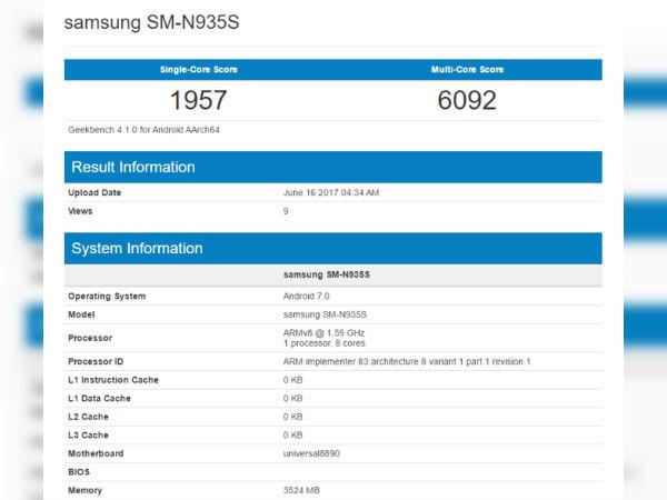 Samsung Galaxy Note 7R visits Geekbench again
