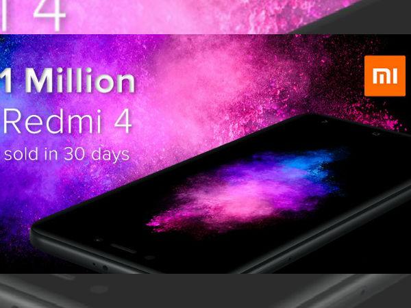 Xiaomi Redmi 4 sales in India cross 1 million units in just 30 days