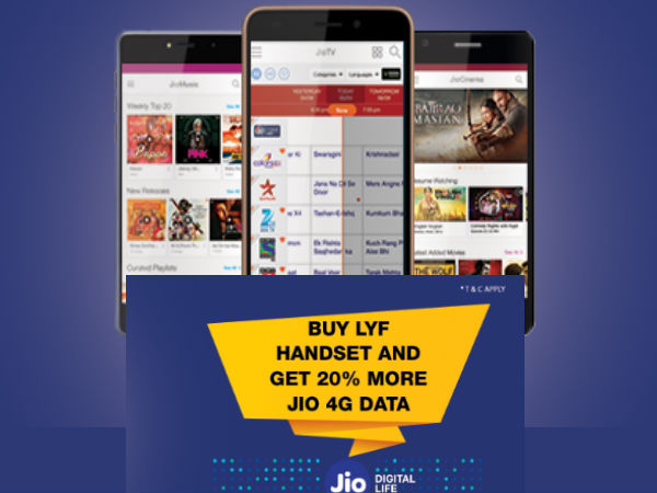 20% More JIO data offer and discounts on JIO LYF smartphones