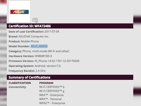Asus X00GD gets Wi-Fi certified; member of the ZenFone 4 family?