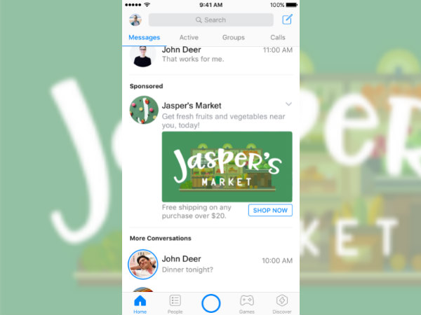 Facebook Messenger will soon get ads on home screen