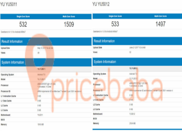 New Micromax Yu smartphone visits Geekbench; to arrive in two variants