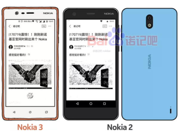 Nokia 2 sketch leaks along with Nokia 3 showing rear design