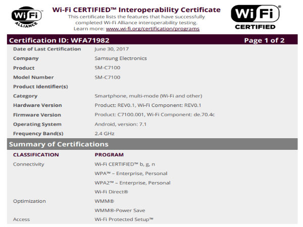 Samsung Galaxy C7 (2017) receives Wi-Fi certification