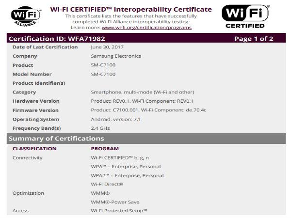 Samsung Galaxy C7 (2017) receives Wi-Fi certification