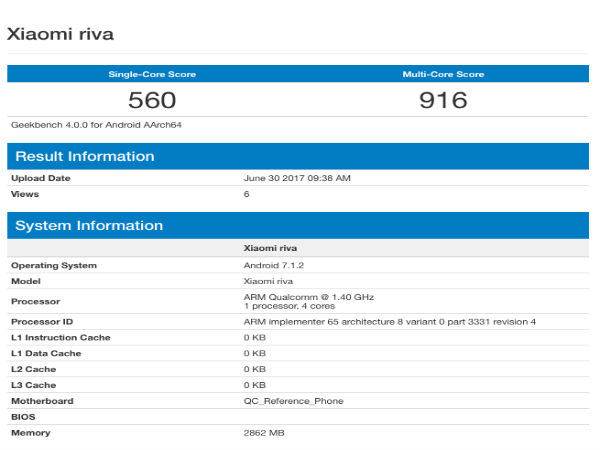 Upcoming Xiaomi smartphone codenamed 'riva' spotted on Geekbench