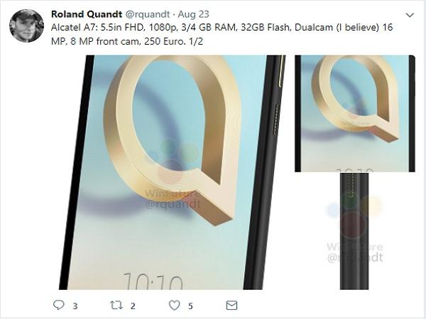 Alcatel A7 mid-range smartphone specs leaks ahead of IFA