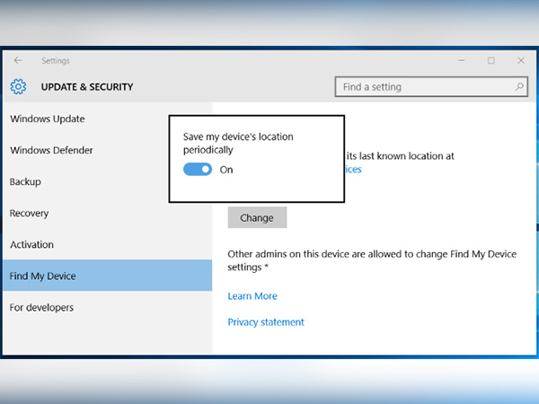 How to enable Windows laptop tracking feature