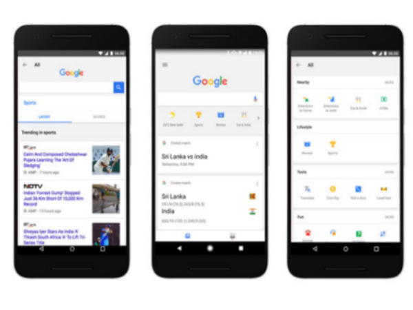 Google Search app gets shortcuts for cricket, weather, mini games