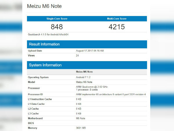 Meizu M6 Note spotted on Geekbench ahead of launch