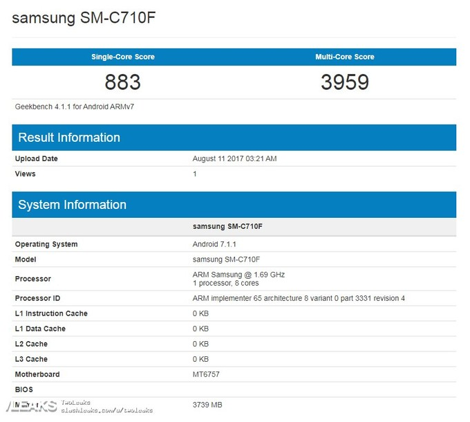 Samsung Galaxy C7 visits Geekbench with Helio P20 SoC