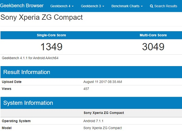 Sony Xperia ZG Compact running Android 7.1.1 spotted on GeekBench