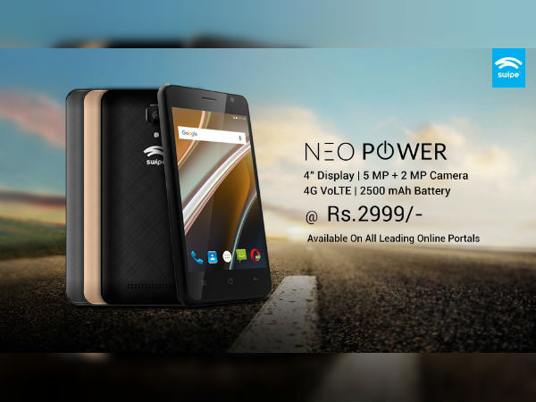 Swipe Neo Power 4G VoLTE phone launched at Rs. 2,999