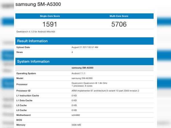 New Samsung phone with Snapdragon 660, 6GB RAM spotted online