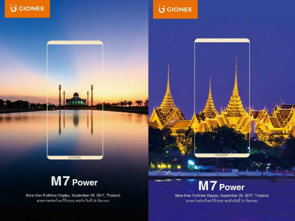 Gionee M7 Power with FullView display to go official on September 28