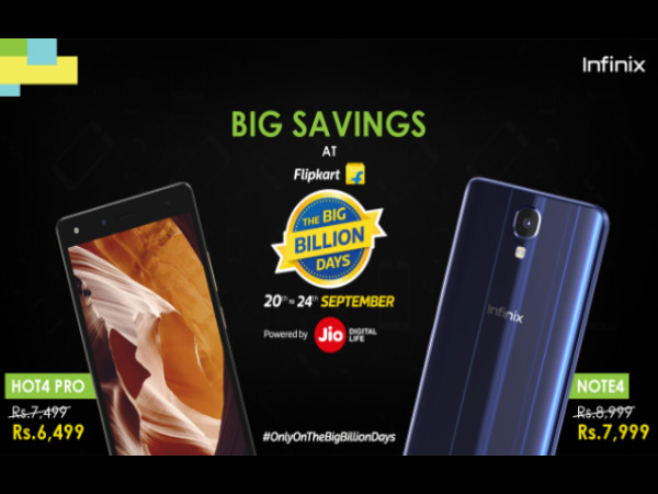 Infinix Note 4, Hot 4 Pro get Rs. 1,000 discount during Flipkart Big Billion Days Sale